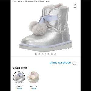 Girls Ugg boots silver metallic sz 13